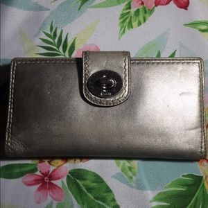 Coach leather silver wallet